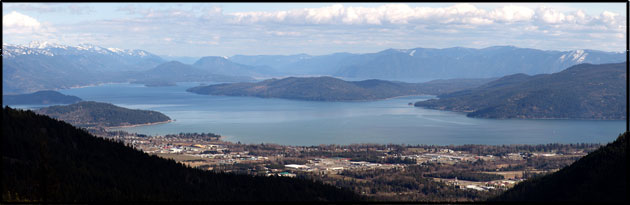 Lake Pend Oreille and the city of Sandpoint from atop Schweitzer Mountain